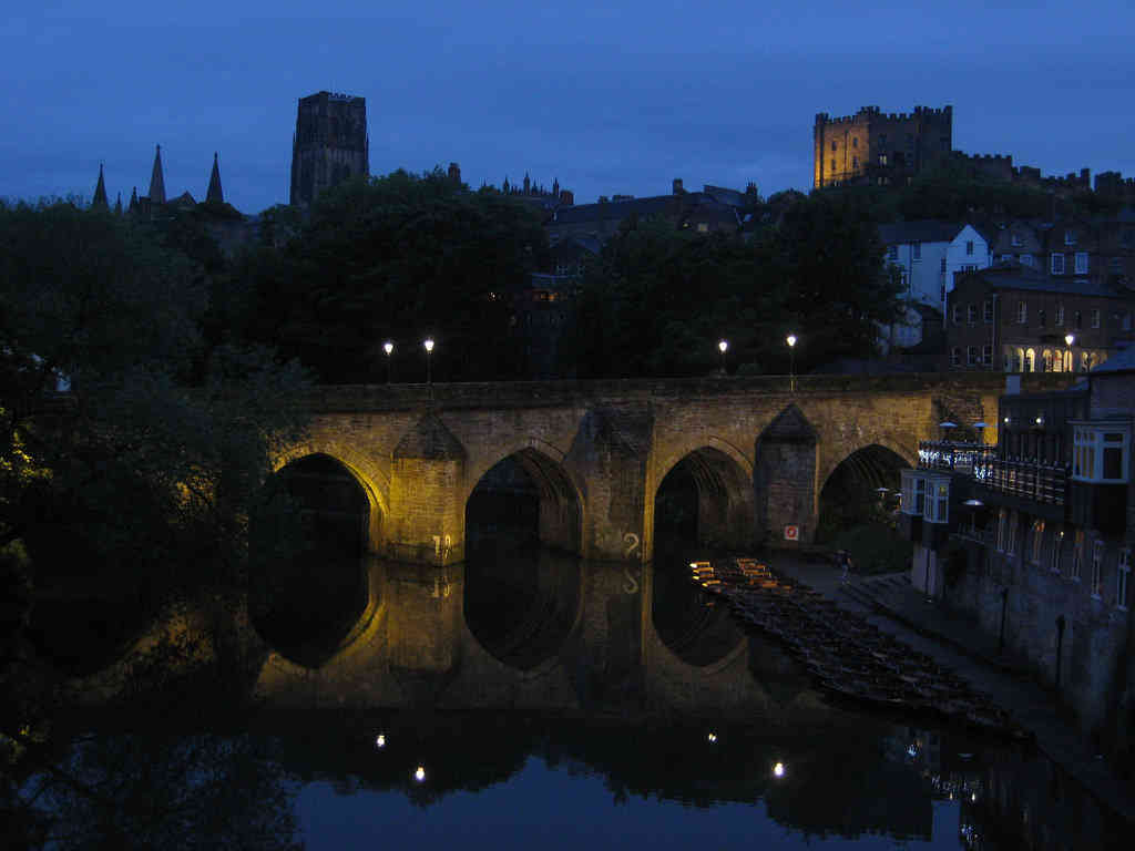 River Wear on a rare sunny day and Elvet Bridge at night